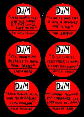 DDM chapas texto 1 rojo y blanco