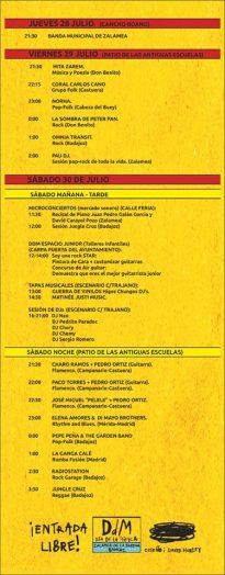 programa de actividades y conciertos DDM 2016